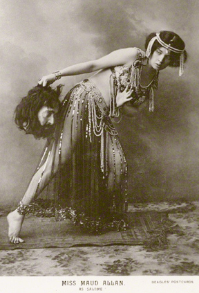 NPG Ax160375; Maud Allan as Salome in 'The Vision of Salome' published by J. Beagles & Co