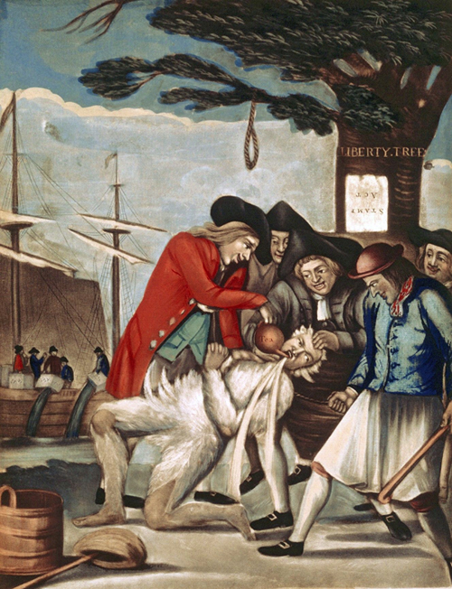 Philip_Dawe The_Bostonians_Paying_the_Excise-man,_or_Tarring_and_Feathering_(1774)