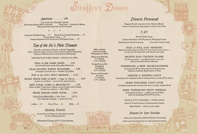 Sixes Menu